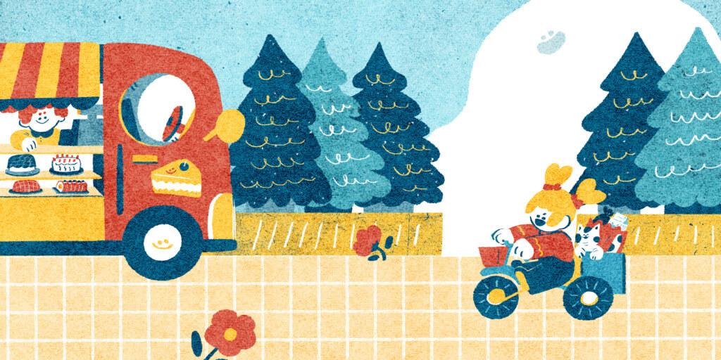 吃完早餐後怒兒跟寶子就出門買菜,在路上看到了蛋糕餐車,他們會怎麼做呢?